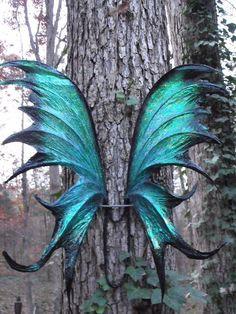 OOAK Iridescent Green Black Fae Fairy Wings Cosplay Renaissance Xylia. $150.00, via Etsy.