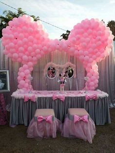 Minnie Mouse Birthday Theme, Minnie Mouse Baby Shower, Mickey Mouse Parties, Mickey Party, 2nd Birthday, Minnie Mouse Balloons, Minnie Mouse Pink, Balloon Decorations, Birthday Party Decorations