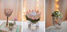 Echte Hochzeit im Kelvin Grove {Deborah & Michael} - Wedding Protea Centerpiece, Wedding Centerpieces, Wedding Decorations, Centrepieces, Protea Wedding, Floral Wedding, Wedding Flowers, Wedding Tags, Our Wedding