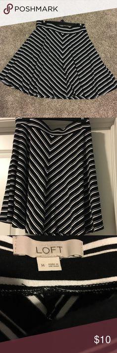 Black and White Stripe Skirt Black and White Skirt- perfect for summer' LOFT Skirts A-Line or Full
