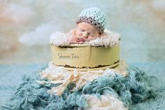 Glacier Blue Newborn Baby Hat Gray Edge   Beautiful Photo Props