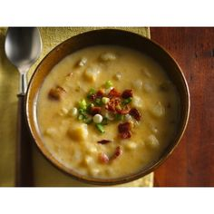 Slow Cooker Cheesy Potato Soup ❤ liked on Polyvore featuring backgrounds, food and tiana
