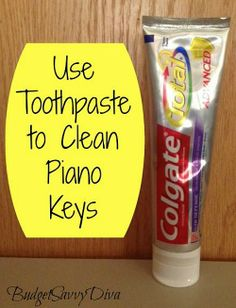 """Here's an idea for cleaning piano keys (do be cautious): """"Use Toothpaste to Clean Your Piano Keys: Using an old toothbrush and some toothpaste, scrub the piano keys. Try to not get the toothpaste between the keys. After scrubbing, take a damp cloth and wipe off the excess toothpaste. Your keys should look good as new!"""" ~ Budget Savvy Diva"""