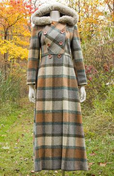 VTG 70s BOHO Cozy PLAID PRINCESS Tan WOOL Hooded Babydoll MAXI COAT Jacket XS-S #Unbranded #DoubleBreasted