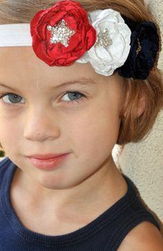 Red White Blue Headband, Fourth of July Headband, Independence Day Headband, Patriotic Headband, Star Headband