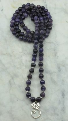 Wellness Mala Necklace. Amethyst Mala Beads for Purification, Protection and Divine Conection.