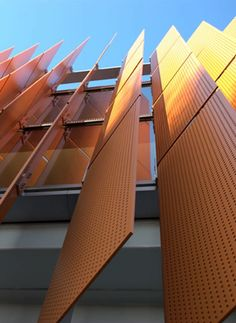 Perforated metal sunshades from Accurate Perforating, Tenley-Friendship Library Facade Architecture, School Architecture, Exterior Blinds, Shading Device, Retail Facade, Facade Lighting, Perforated Metal, Metal Panels, Facade Design