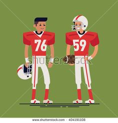 Cool vector character design on american football players wearing uniform standing isolated. Professional american football team players standing holding ball and helmet. Sports career professionals - stock vector