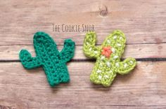 Free crochet Cactus applique pattern at The Cookie Snob.