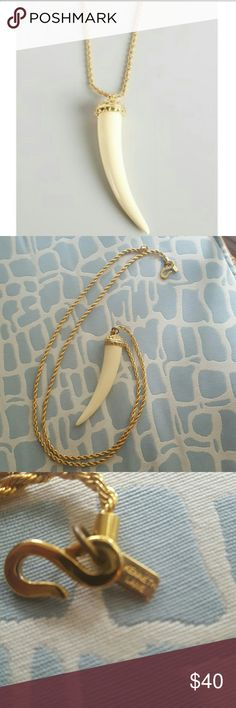 Kenneth Jay Lane Gold And Ivory Horn Pendant In great shape. Beautiful necklace. Kenneth Jay Lane Jewelry Necklaces