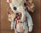 von Alla Bären original Künstler Winter Wonderland Elefant Ellie Kunst Spielzeug Puppe Vintage Antique gefüllte Baby handgemachte Wohnkultur Weihnachten
