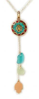 $110 Tibetian Rain Necklace, Sterling Silver, 12k gold Hamsa (Tel Aviv), Sea Glass, Turquoise