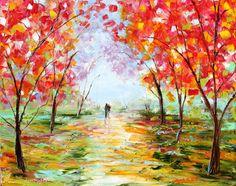 Original oil painting Fall Love Romance Landscape by Karensfineart