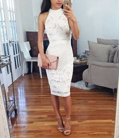 white lace dress - cute for engagement photos, bridal shower, wedding rehearsal dinner or reception outfit!