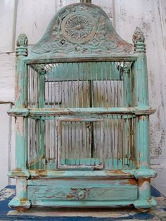 Wood and metal birdcage Solid large thick ornate wooden hand painted sea foam mist distressed decor Anita Spero Distressed Decor, Antique Bird Cages, The Caged Bird Sings, Vintage Birds, French Vintage, Vintage Clocks, Wooden Hand, Oui Oui, Glass Birds