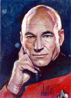 Captain Picard psc by charles-hall on DeviantArt Stark Trek, The Final Frontier, Oil Paintings, Deviantart, Oil On Canvas, Art Oil