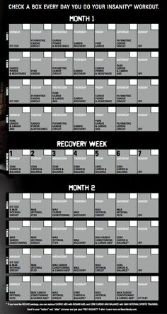 Insanity 60 Day Workout Calendar