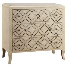 Garen Chest - Hand-painted chest w/ 3 drawers & studded latticework detail