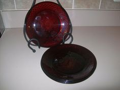 VIntage Luminarc Ruby Red Salad Plates  four by oldnursestreasures, $9.88