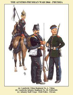 Prussia; Nr.6 Landwehr Uhlan Regiment, Uhlan. Nr.22 Landwehr Infantry Regiment, Feldwebel & Infantry Staff Corps, Field Police,  Private, 1866