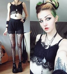#ootd  weuuuuw the weather is so nice! 27C here. My dad is visiting me today and we went thrift shopping and to town! And now we're off to the forest for an evening stroll   P.S. Hiding my fresh tattoos from the sun, not from my dad   #psychara #gothgoth #aliengoth #stregafashion #dreads #syntheticdreads #demonia #altfashion #blackwork