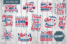 Fourth of July SVG Bundle, Independence day cut file bundle example image 1 - Holiday - Buvizyon Patriotic Crafts, Patriotic Party, July Crafts, Fourth Of July Shirts, 4th Of July, Fourth Of July Puns, July Images, July Quotes, Hot Dog Bar