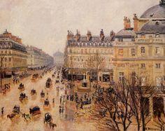 Place du Theatre Francais Rain Effect - Camille Pissarro