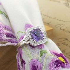 Does this give you jelly knees?  Art Deco inspired purple sapphire with diamonds in 18K white gold.  www.zomacolor.com