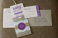 pocket sleeve invitation. inserts tied together with ribbon. ability to pull ribbon from top.