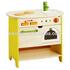 juegos de cocina de madera de madera de juguete juguete de la cocina de juguete para