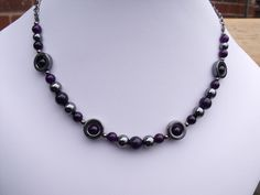 Purple Jade and Hematite Necklace £12.00 By Marthamoo Beads