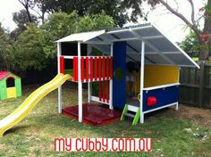 The bright, strong colours look brilliant on this cubby. An extra large sandpit completes the fun ;) www.mycubby.com.au #mycubby #cubbyhouse #cubby #fort #outsideplay #activeplay #happykids #Aussiekids #AusWideDelivery #ChristmasLayby #ChristmasPresent
