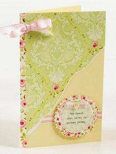 Vintage Greeting Card ~~ Tear patterned paper at a diagonal and attach to a card front for a distressed, vintage look. Use decorative-edge scissors to cut a circle from matching patterned paper, then layer on a small sentiment. Finish the card with a simple patterned paper border and tiny bow.