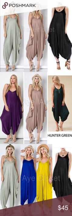 Oversized Loose drape harem Romper jumpsuit dress Brand new Oversized Loose fit drape harem Romper jumpsuit super comfy and breathable fabric Fabric Content : rayon + spandex  Trendy Boho chic jumpsuit, palazzo harem pant dress   Oversized Loose fit drape harem Romper jumpsuit super comfy and breathable fabric...   price is firm unless bundled Pants Jumpsuits & Rompers