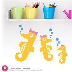 Seahorse Wall Decals: Ocean Nursery Kids Underwater Decor. $15.00, via Etsy.