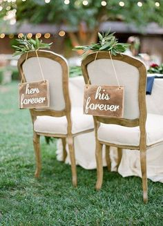 her forever and his forever wedding chair signs wedding chairs 30 Awesome Wedding Sign Decor Ideas for Bride & Groom Chairs Vintage Wedding Signs, Wedding Chair Signs, Wedding Chair Decorations, Wedding Chairs, Rustic Wedding, Our Wedding, Dream Wedding, Wedding Reception, Chic Wedding
