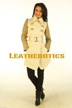 New addition in Leatherotics collection off-white wool and tan leather made ladies coat with matching off-white printed silk lining light weight. only limited stock. Your Price: £165.00