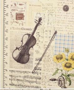 VINTAGE-LINEN-MUSIC-NOTE-CUT-1YARD-CRAFTS-HOME-DECO-NEW-FABRIC