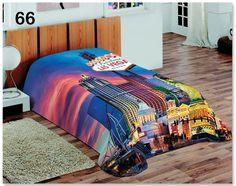 Sypialniany koc koloru niebieskiego na łóżko z miastem Las Vegas