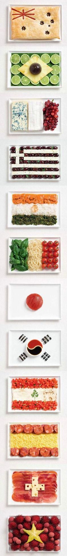 Gastronomía y banderas juntas en estas obras de arte