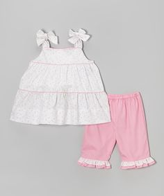 Look at this Petit Pomme Pink & White Floral Jumper & Capri Pants - Infant & Toddler on #zulily today!23.99