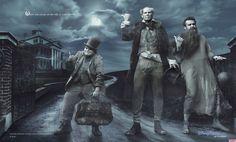 Jack Black, como Phineas, Will Ferrell, como Ezra y Jason Segel, como Gus, en Haunted Mansion (2012).
