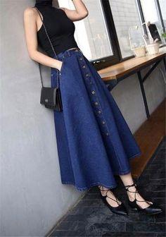 Korean-Fashion-Women-High-Waist-Long-Midi-Denim-A-line-Flare-Skater-Party-Skirt . Korean-Fashion-Women-High-Waist-Long-Midi-Denim-A-line-Flare-Skater-Party-Skirt Source by A Line Denim Skirt, Denim Skirt Outfits, A Line Skirts, Long Skirts, Jean Skirt, Korean Skirt Outfits, A Line Skirt Outfits, Skirt Ootd, Long A Line Skirt