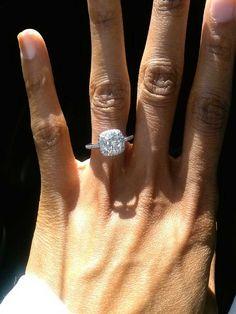 Cushion halo Moissanite ring