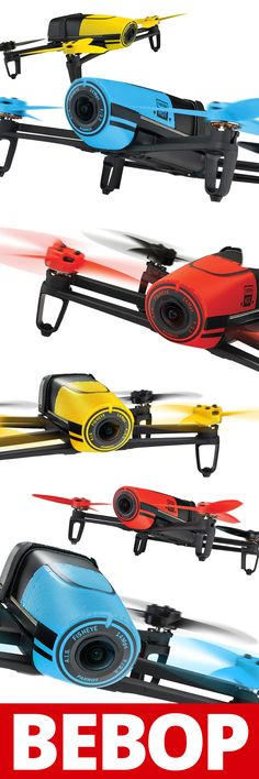 The Bebop Quadcopter is available in 3 colors and comes with the Skycontroller and 14-megapixel HD action camera
