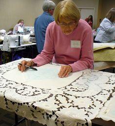 Cindy Needham: Linen Ladies Workshop!!!  Vintage Linens transformed into wholecloth quilts.