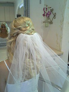 half up half down bridal hair styles with veil - Google Search