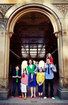 Family portrait wardrobe bright colors