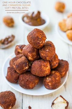 One-Hour Chocolate and Cinnamon-Sugar Soft Pretzel Bites (vegan) - Make your own soft & chewy pretzel bites in an hour! You won't believe ho...