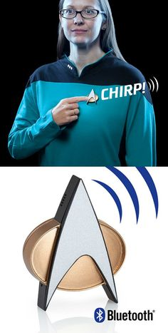 """Star Trek TNG Bluetooth® ComBadge. Answer your calls with the word """"Go!""""…"""